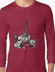 Eiffel tower with floral and grunge Long Sleeve T-Shirt
