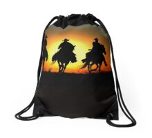 Cowboys Riding Home After A Wrangler Day Drawstring Bag