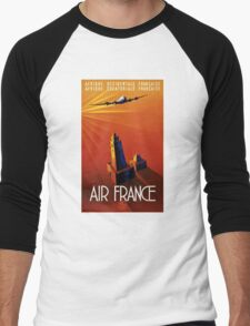 France Vintage Travel Poster Restored Men's Baseball ¾ T-Shirt