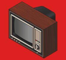 Retro Woodgrain TV One Piece - Short Sleeve