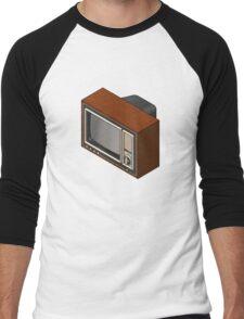 Retro Woodgrain TV Men's Baseball ¾ T-Shirt