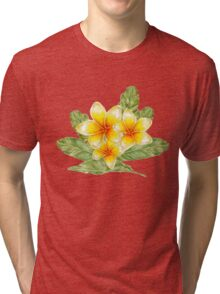 Plumeria flowers and banana leaves  Tri-blend T-Shirt