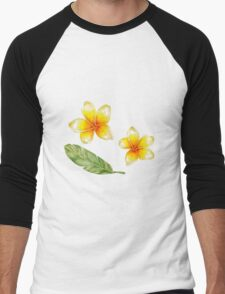 Plumeria flowers and banana leaf Men's Baseball ¾ T-Shirt