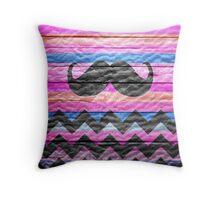Mustache Chevron Vintage Wooden Throw Pillow