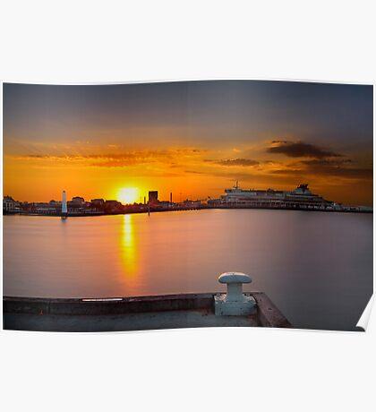 Sunrise at Princess Pier viewing the Spirit of Tasmania Cruise ship at St Kilda, Victoria, Austarlia Poster