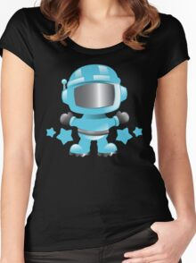 Little cute Space man in a Blue space suit Women's Fitted Scoop T-Shirt