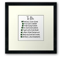 Harry Potter Checklist Framed Print