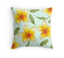 pattern with tropical flowers and banana leaves  Throw Pillow