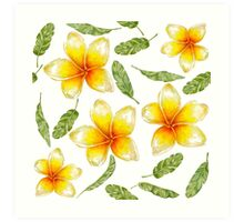 pattern with tropical flowers and banana leaves  Art Print