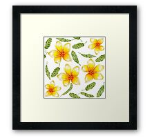 pattern with tropical flowers and banana leaves  Framed Print