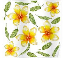 pattern with tropical flowers and banana leaves  Poster