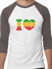 I Love, Reggae, Rastafari, Africa, Jah, Jamaica,  Men's Baseball ¾ T-Shirt