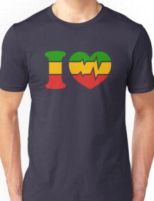 I Love, Reggae, Rastafari, Africa, Jah, Jamaica,  Unisex T-Shirt