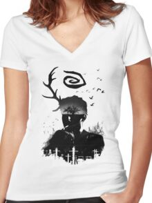 Rust Women's Fitted V-Neck T-Shirt