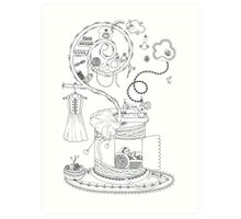 Sewing studio - Magical home Art Print