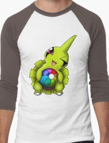 Shiny Larvitar w/ Beach Ball Men's Baseball ¾ T-Shirt