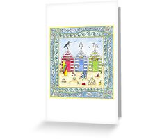Beach Huts Seaside Holiday Greeting Card