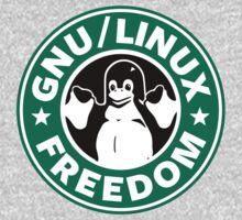 GNU Linux Starbucks logo penguin parody by MalcolmWest