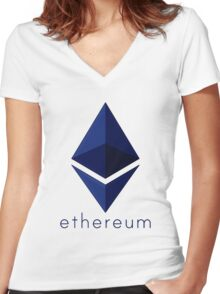 Ethereum Blue  Women's Fitted V-Neck T-Shirt