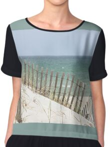Ocean view through the beach fence Chiffon Top