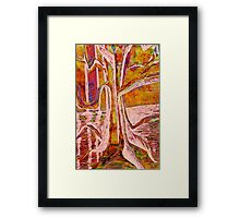 Red-Gold Autumn Glow River Tree Framed Print
