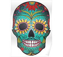 Mexican Skull Sugar Red Moustache Poster