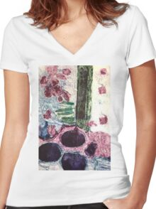 Collagraph Print Women's Fitted V-Neck T-Shirt