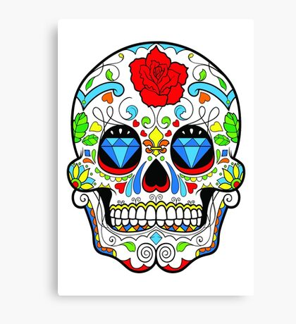 Mexican Skull Sugar Red Rose Canvas Print