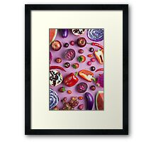 Red food on pink Framed Print