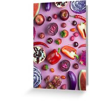 Red food on pink Greeting Card