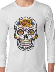 Mexican Sugar Skull Yellow Rose Long Sleeve T-Shirt