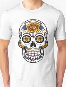 Mexican Sugar Skull Yellow Rose Unisex T-Shirt