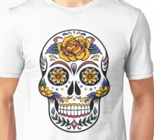 Mexican Sugar Skull Yellow Rose Unisex T-Shirt