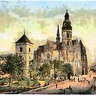 a digital painting of The Cathedral, Kaschau, Hungary, Austro-Hungarian Empire 19th century by Dennis Melling