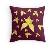 Yellow Cowslip Orchid on Purple Throw Pillow