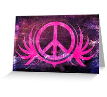 Peace Sign with Grunge Texture and Wings Greeting Card