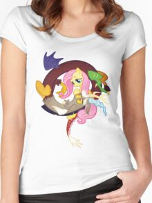 MLP Fluttershy and Discord Women's Fitted Scoop T-Shirt