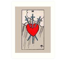 Three of Swords Tarot Card  Art Print