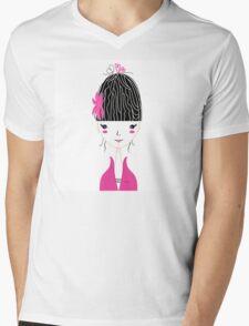 Beautiful Japan Girl stylized vector Illustration Mens V-Neck T-Shirt