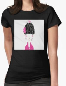 Beautiful Japan Girl stylized vector Illustration Womens Fitted T-Shirt