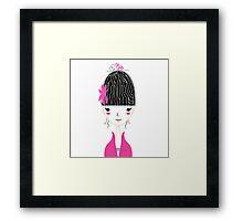 Beautiful Japan Girl stylized vector Illustration Framed Print