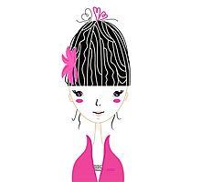 Beautiful Japan Girl stylized vector Illustration Photographic Print