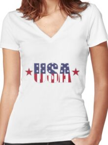 USA Flag Patriotic T-Shirt Women's Fitted V-Neck T-Shirt