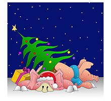 Pigs with tree waiting for Christmas for throw pillows by Roy Isaacs