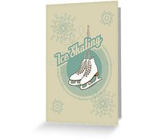 Iсe skating in retro style  Greeting Card