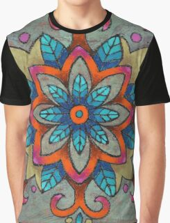 Mandala of the Blue Leaves Graphic T-Shirt