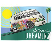 VW T1 cartoon California dreaming Poster