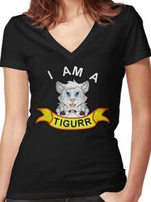 I Am A White Tigurr! Women's Fitted V-Neck T-Shirt