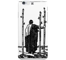 Black and White Three of Wands Tarot Card  iPhone Case/Skin
