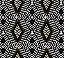 Tribal Diamond Black White + Gold by webgrrl